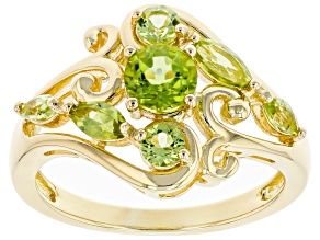 Green Peridot 18k Yellow Gold Over Sterling Silver Ring 0.99ctw