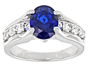 Blue Lab Created Spinel Rhodium Over Sterling Silver Ring 2.30ctw