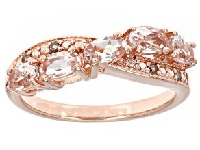 Pink Morganite 18k Rose Gold Over Sterling Silver Ring 0.75ctw