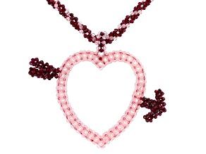 Pink Rose Quartz Rhodium Over Silver Heart Necklace