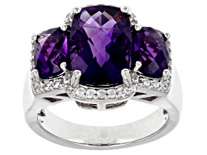 Purple African Amethyst Rhodium Over Sterling Silver Ring. 4.98ctw