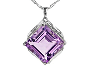 Purple Amethyst Rhodium Over Silver Pendant With Chain 7.61ctw