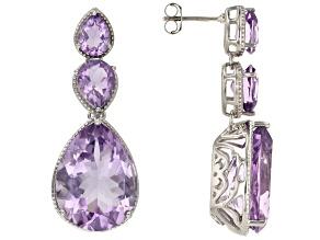 Lavender Amethyst Rhodium Over Sterling silver Dangle Earrings 29.71ctw