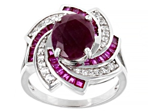 Red Ruby Rhodium Over Sterling Silver Ring 3.91ctw
