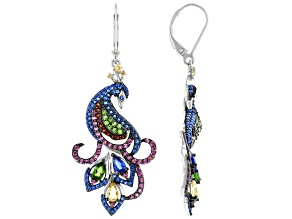 Blue Lab Spinel & Multi Gemstone Rhodium Over Sterling Silver Peacock Dangle Earrings 4.20ctw