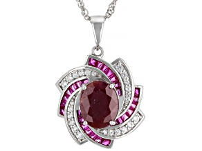 Red Ruby Rhodium Over Sterling Silver Pendant Chain 3.90ctw