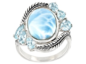 Blue Larimar Rhodium Over Sterling Silver Ring 2ctw