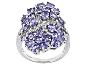 Blue Tanzanite Rhodium Over Sterling Silver Ring 3.89ctw