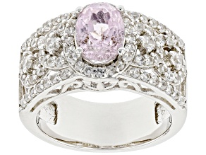 Pink Kunzite Rhodium Over Sterling Silver Ring 2.34ctw