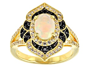 White Ethiopian Opal 18K Yellow Gold Over Sterling Silver Ring 1.38ctw