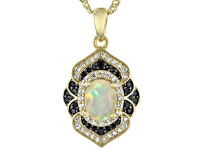 White Ethiopian Opal 18K Yellow Gold Over Sterling Silver Pendant With Chain 1.17ctw