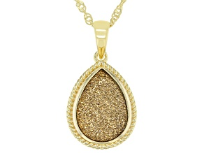 Golden Drusy Quartz 18k Yellow Gold Over Sterling Silver Pendant with Chain