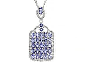 Blue Tanzanite Rhodium Over Sterling Silver Pendant With Chain 4.99ctw