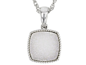 Silver Drusy Quartz Rhodium Over Sterling Silver Solitaire Pendant With Chain 3.95ct
