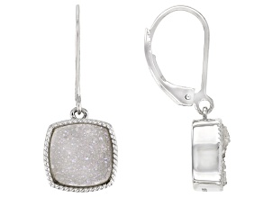 Gray Drusy Quartz Rhodium Over Sterling Silver Dangle Earrings