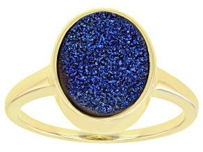Blue Drusy Quartz 18k Yellow Gold Over Sterling Silver Ring