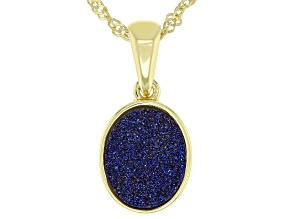 Blue Drusy Quartz 18K Yellow Gold Over Sterling Silver Pendant With Chain