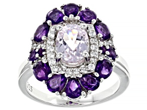 Pink Kunzite Rhodium Over Sterling Silver Ring 3.69ctw