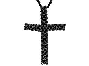 Black Spinel Beaded Cross Necklace.