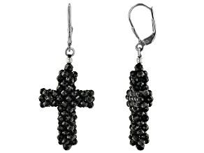 Black Spinel Cross Dangle Rhodium Over Sterling Silver Earrings