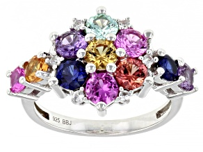 Multi-Sapphire Lab Created Rhodium Over Sterling Silver Ring 2.63ctw