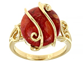 Red Sponge Coral 18k Yellow Gold Over Sterling Silver Ring