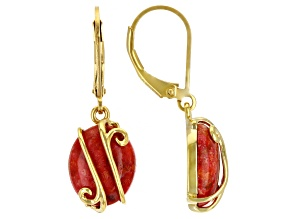 Red Sponge Coral 18k Yellow Gold Over Sterling Silver Earrings