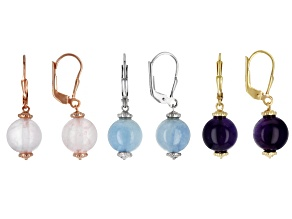 Pink Rose Quartz 18k Yellow, Rose Gold & Rhodium Over Sterling Silver Earring Set of 3