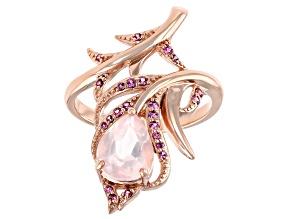 Rose Quartz 18K Rose Gold Over Sterling Silver Ring 0.16ctw