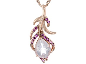 Rose Quartz 18K Rose Gold Over Silver Pendant With Chain 0.12ctw