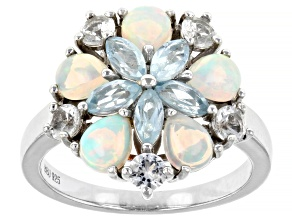 White Ethiopian Opal Rhodium Over Sterling Silver Ring 1.78ctw