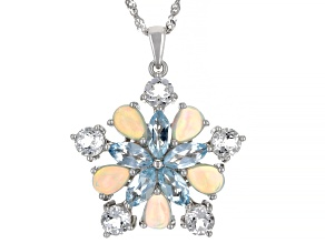 White Ethiopian Opal Rhodium Over Sterling Silver Pendant with Chain 6.09ctw