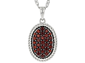 Red Garnet Rhodium Over Sterling Silver Pendant With Chain. 0.92ctw