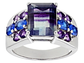 Bi-Color Fluorite Rhodium Over Sterling Silver Ring 4.31ctw