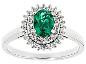 Green Lab Created Emerald Rhodium Over Sterling Silver Ring .98ctw