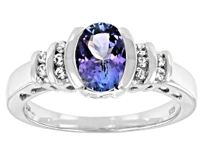 Blue Tanzanite Rhodium Over Sterling Silver Ring. 1.27ctw
