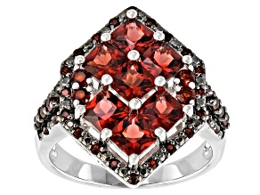 Red Garnet Rhodium Over Sterling Silver Ring. 3.01ctw
