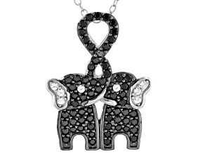 Black Spinel Rhodium Over Silver Elephant Pendant With Chain 0.61ctw