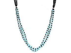 Sky Blue Opal And Rhodium Over Sterling Silver Necklace