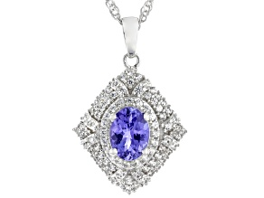 Blue Tanzanite Rhodium Over Sterling Silver Pendant With Chain 1.85ctw