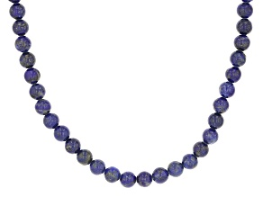 Blue Lapis Lazuli Rhodium Over Sterling Silver Beaded Necklace