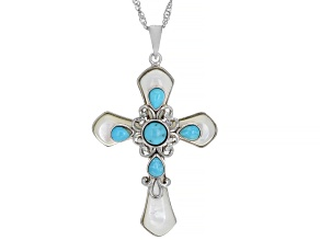 Blue Turquoise Rhodium Over Sterling Silver Pendant With Chain.