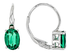 Green Lab Created Emerald Rhodium Over Sterling Silver Earrings. 1.21ctw