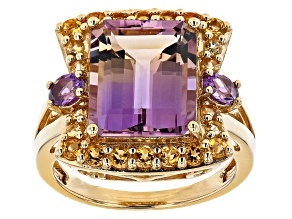 Bi-color Ametrine 18K Yellow Gold Over Sterling Silver Ring 5.55ctw