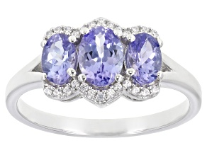 Blue Tanzanite With White Zircon Rhodium Over Sterling Silver Ring 1.78ctw
