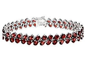 Red Vermelho Garnet™ Rhodium Over Sterling Silver Bracelet. 27.04ctw