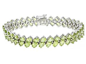 Green Peridot Rhodium Over Sterling Silver Bracelet 23.19ctw