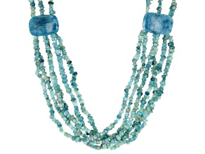 Aquamarine Rhodium Over Sterling Silver Beaded Necklace