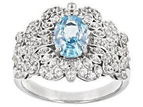 Blue Zircon Rhodium Over Sterling Silver Ring. 2.38ctw