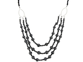 Black Spinel Rhodium Over Sterling Silver Beaded Necklace